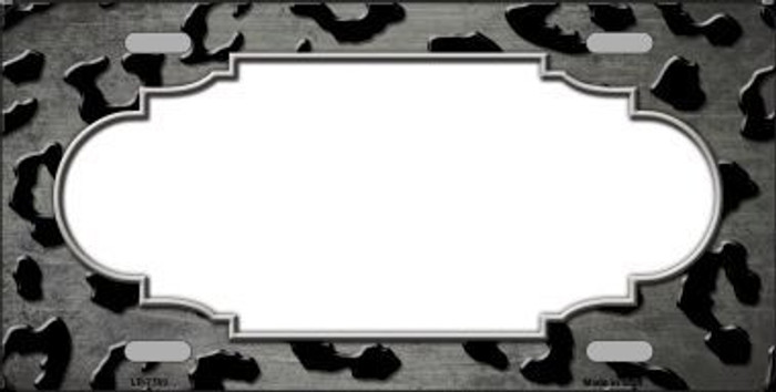 Gray Black Cheetah Scallop Print Oil Rubbed Metal Novelty License Plate