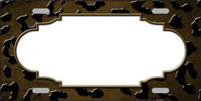 Brown Black Cheetah Scallop Print Oil Rubbed Metal Novelty License Plate