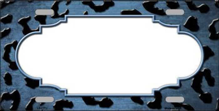 Light Blue Black Cheetah Scallop Print Oil Rubbed Metal Novelty License Plate