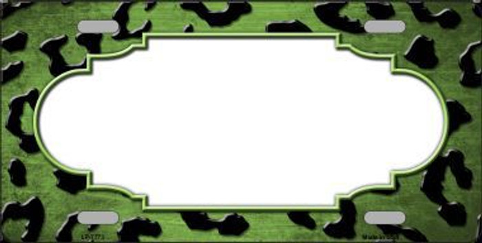 Lime Green Black Cheetah Scallop Print Oil Rubbed Metal Novelty License Plate