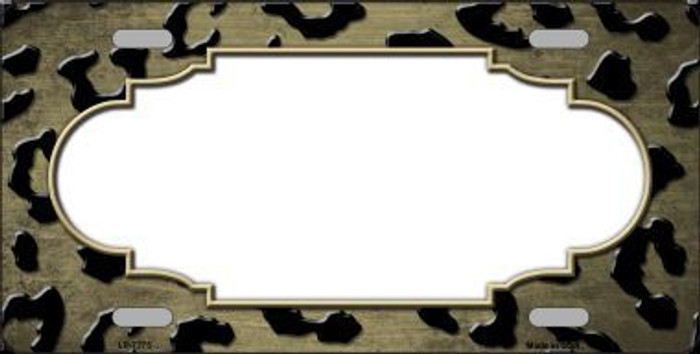 Gold Black Cheetah Scallop Print Oil Rubbed Metal Novelty License Plate