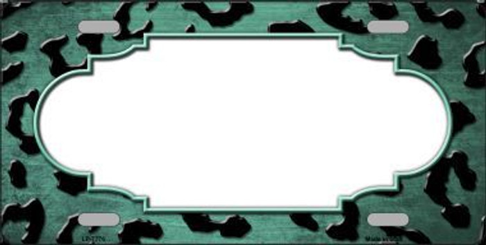 Mint Black Cheetah Scallop Print Oil Rubbed Metal Novelty License Plate