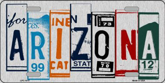 Arizona License Plate Art Brushed Aluminum Metal Novelty License Plate