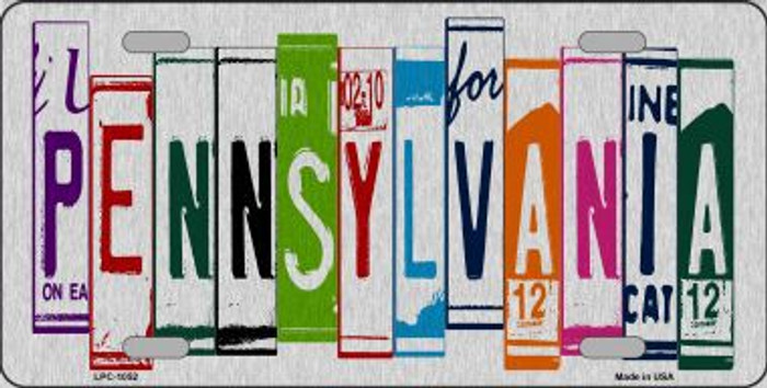Pennsylvania License Plate Art Brushed Aluminum Metal Novelty License Plate