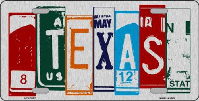 Texas License Plate Art Brushed Aluminum Metal Novelty License Plate