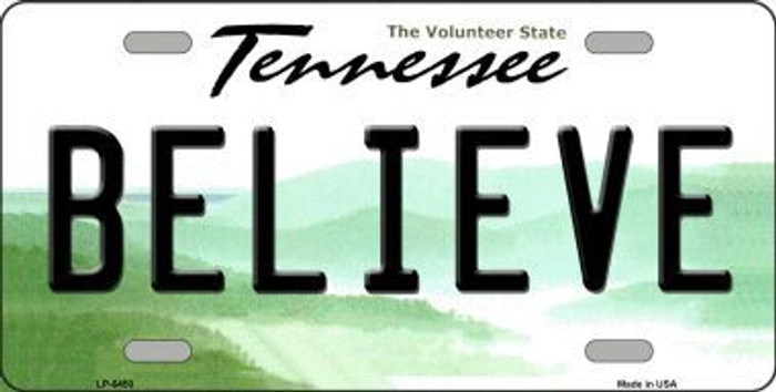 Believe Tennessee Novelty Metal License Plate