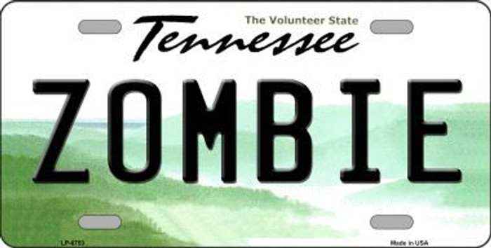 Zombie Tennessee Novelty Metal License Plate