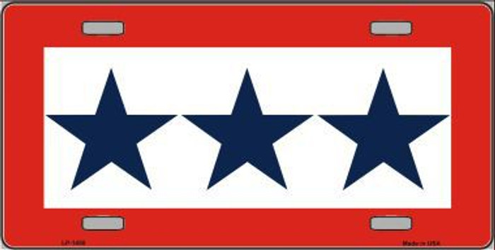 Blue Star Three Metal Novelty License Plate