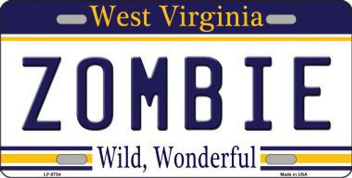 Zombie West Virginia Novelty Metal License Plate