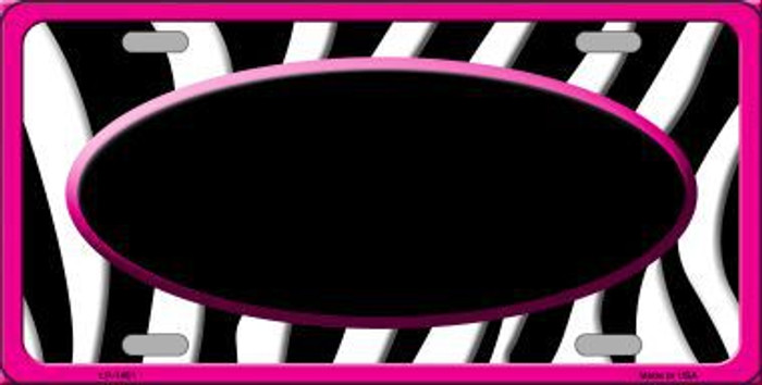 Black White Pink Zebra Print With Center Oval Metal Novelty License Plate