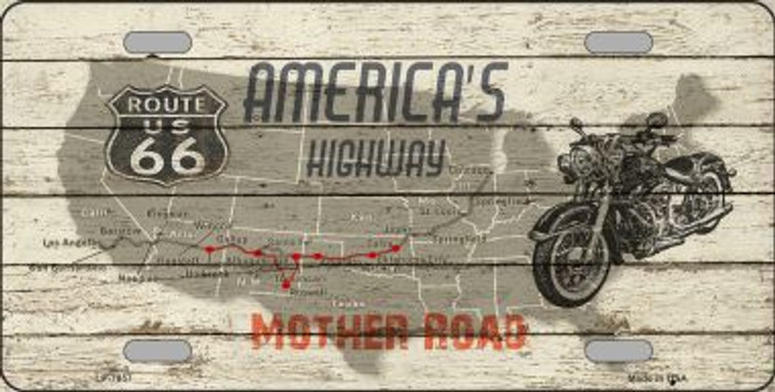 Americas Highway Route 66 Metal Novelty License Plate
