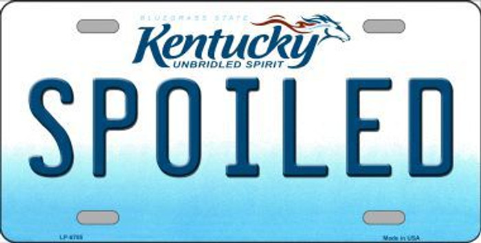 Spoiled Kentucky Novelty Metal License Plate