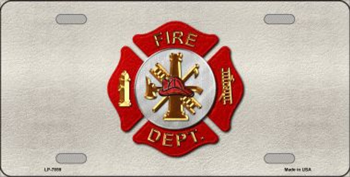 Fire Department Metal Novelty License Plate