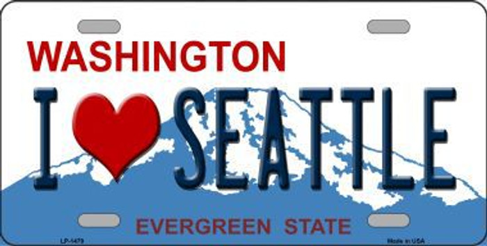 I Love Seattle Washington Novelty Metal License Plate