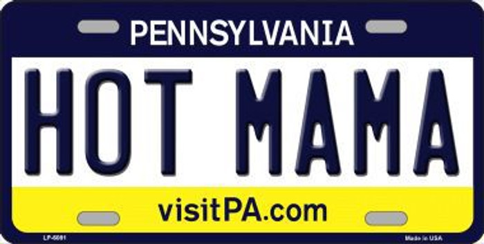 Hot Mama Pennsylvania State Background Novelty Metal License Plate