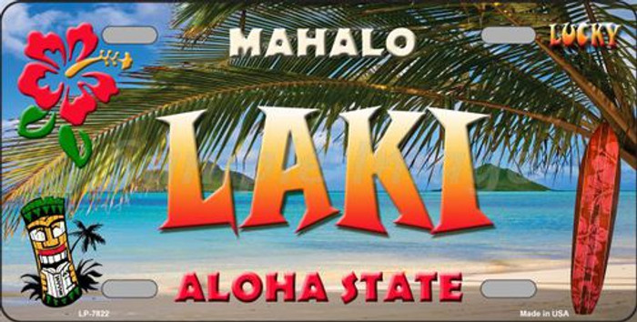 Laki Hawaii State Background Novelty Metal License Plate