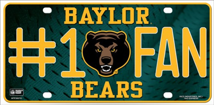 Baylor Fan Deluxe Metal Novelty License Plate