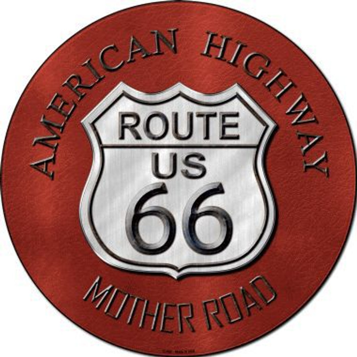 Route 66 American Highway Novelty Metal Circular Sign