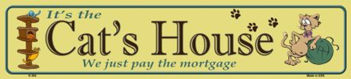 Cats House Metal Novelty Street Sign