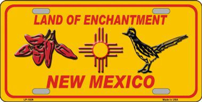 Red Chili & Road Runner Yellow New Mexico Novelty Metal License Plate