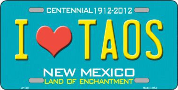 I Love Taos New Mexico Novelty Metal License Plate