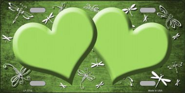 Lime Green White Dragonfly Hearts Print Oil Rubbed Metal Novelty License Plate