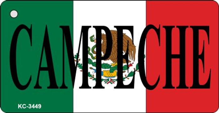 Campeche On Flag Mini License Plate Metal Key Chain