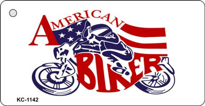 American Biker License Plate Metal Novelty Key Chain