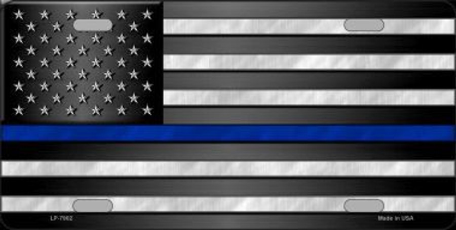 American Flag Thin Blue Line Novelty Metal License Plate