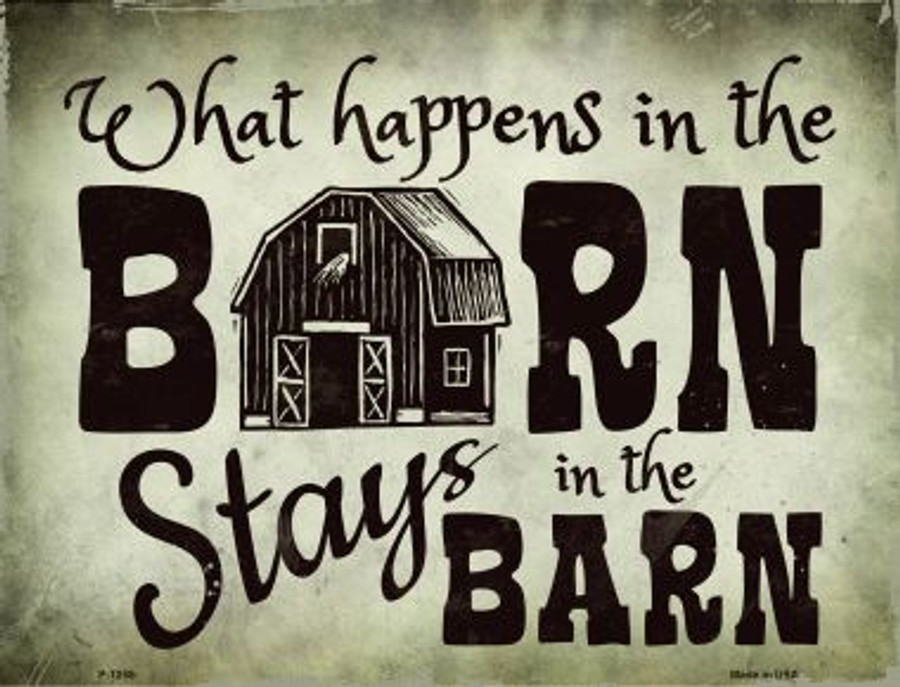 Happens In Stays In Barn Metal Novelty Parking Sign