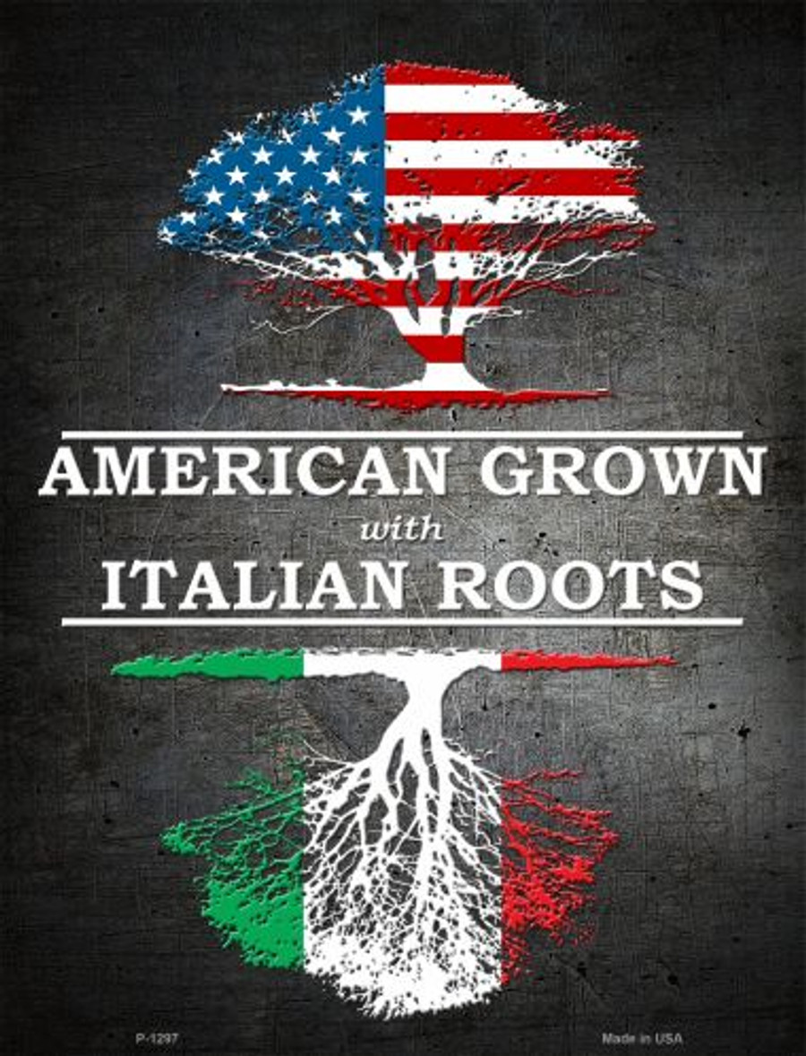 American Grown Italian Roots Metal Novelty Parking Sign