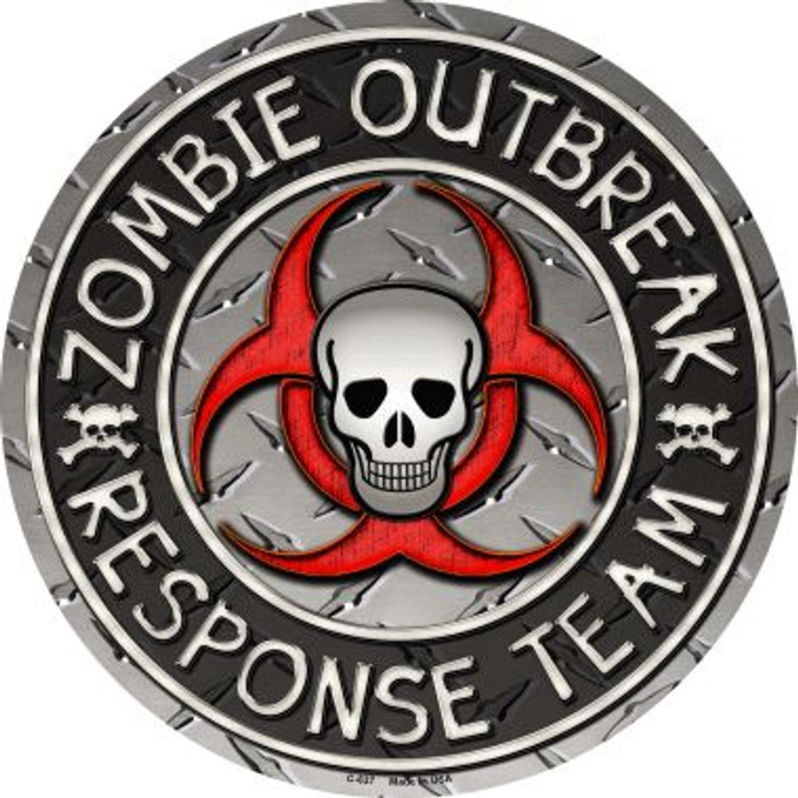 Zombie Outbreak Novelty Metal Circular Sign