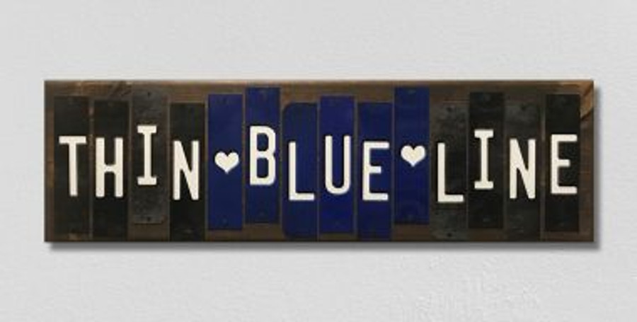 Thin Blue Line Fun Strips Wholesale Novelty Wood Sign WS-120
