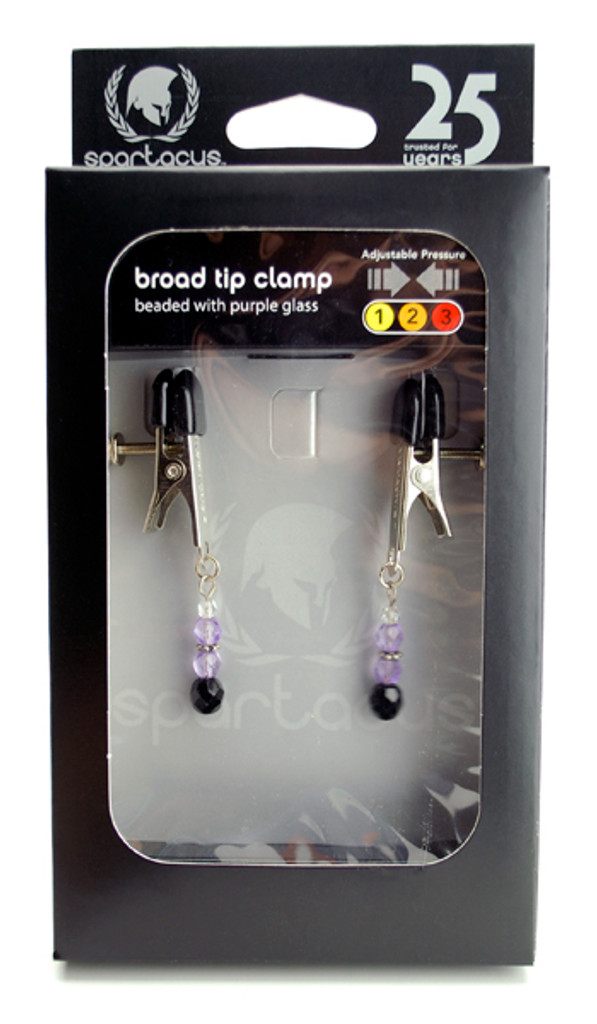 Adjustable Broad Tip Nipple Clamps Includes Purple Beads