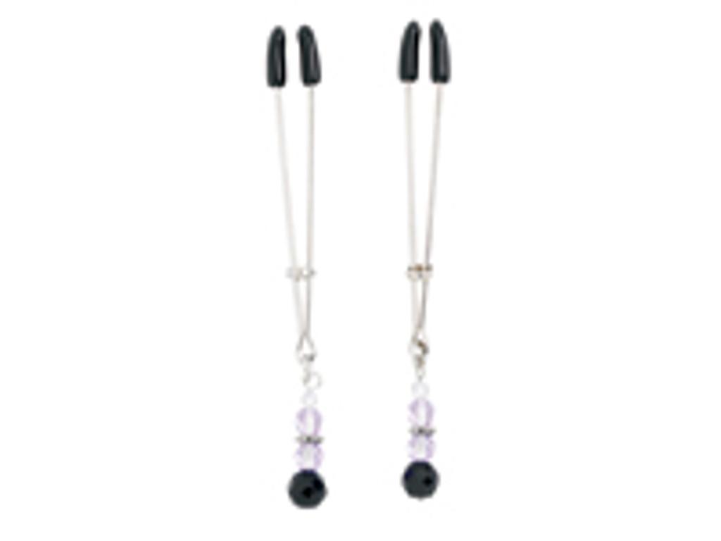 Adjustable Tweezer Nipple Clamps Includes Purple Beads