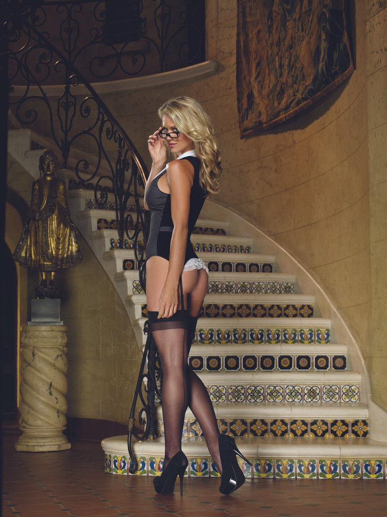 3 Pc Working Late Pinstripe Knit Vest Garter, Thong & Plastic Glasses Black - One Size Fits All