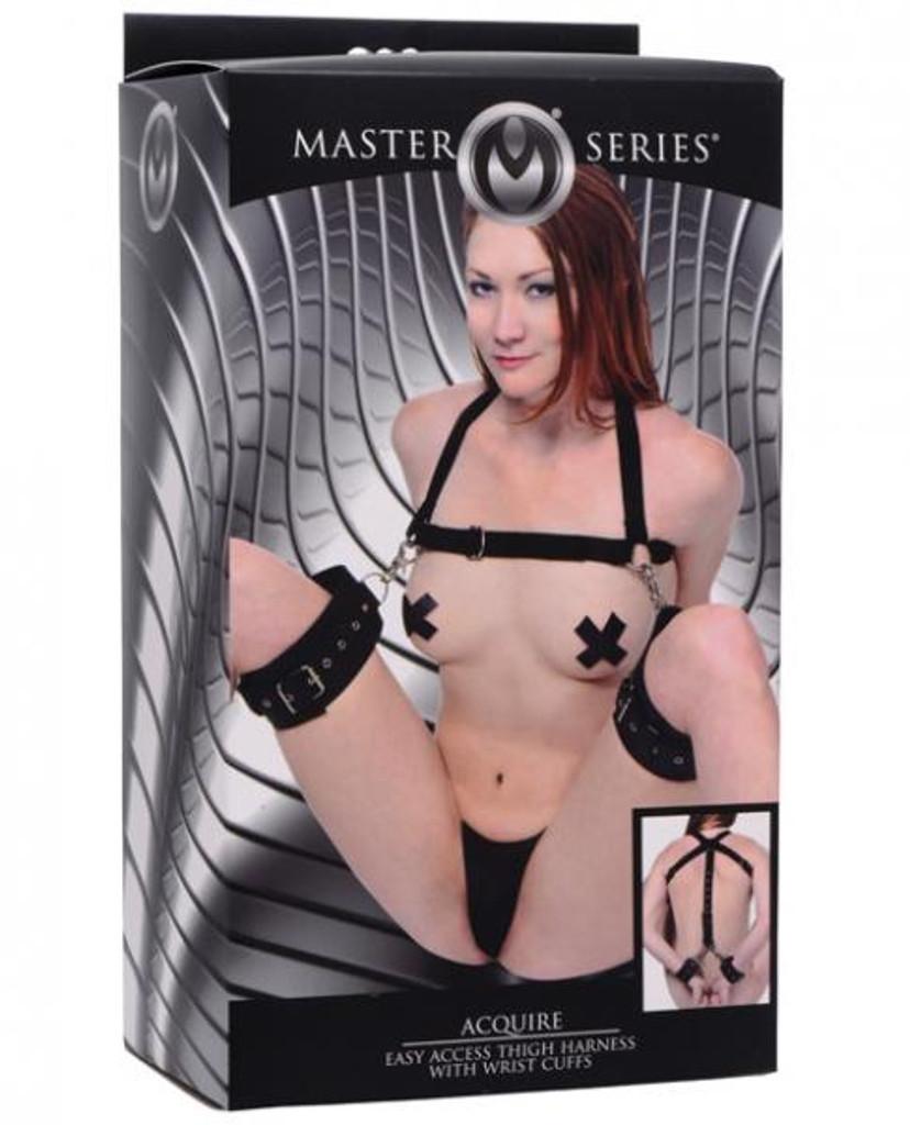 Acquire Easy Access Thigh Harness, Wrist Cuffs Black