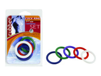 """1.25"""" Rubber Cock Ring Set - Rainbow Pack Of 5"""