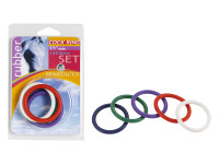 "1.5"" Rubber Cock Ring Set - Rainbow Pack Of 5"