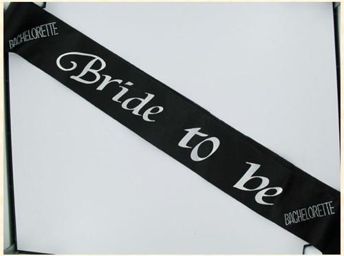 Bachelorette Bride To Be Non Flashing Sash - Black