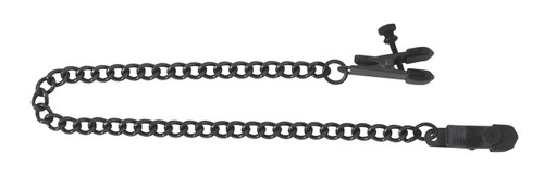 Blackline Broad Tip Adjustable Nipple Clamps Includes Chain - Black