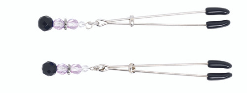 Adjustable Tweezer Nipple Clamps Includes Purple Beads
