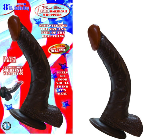 """Real Skin Afro American Whoppers 8"""" Includes Balls - Brown"""