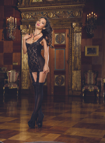 Lace Garter Dress Includes Stretch Trim Straps, Satin Ribbon Bk & Attached Stockings Black - One Size Fits All