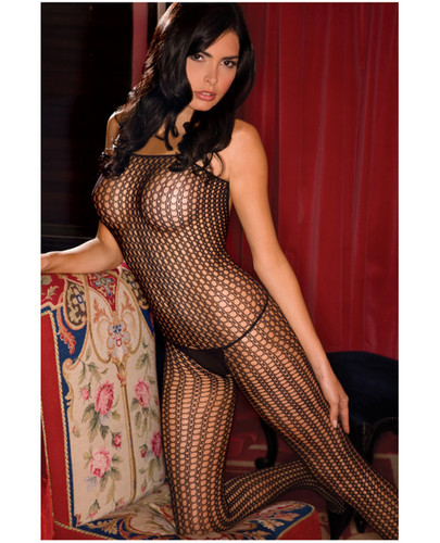Rene Rofe Quarter Crochet Net Bodystocking Black - One Size Fits All