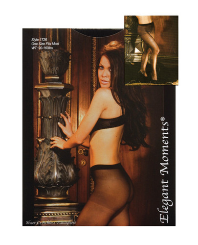 Sheer Crotchless Pantyhose Black - One Size Fits All