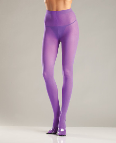 Opaque Nylon Pantyhose Purple - One Size Fits All