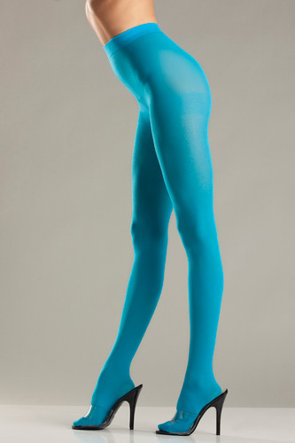 Opaque Nylon Pantyhose Turquoise - One Size Fits All