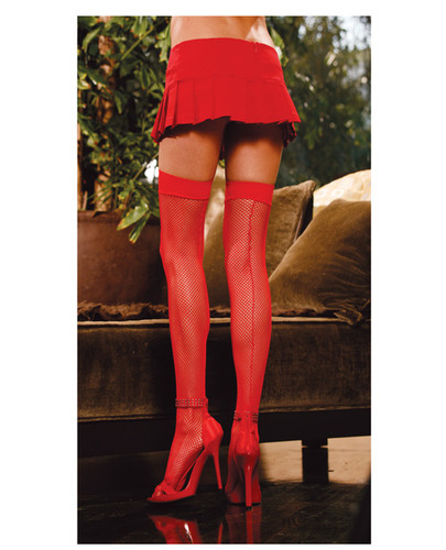 Fishnet Thigh Highs Includes Back Seam Red - One Size Fits All