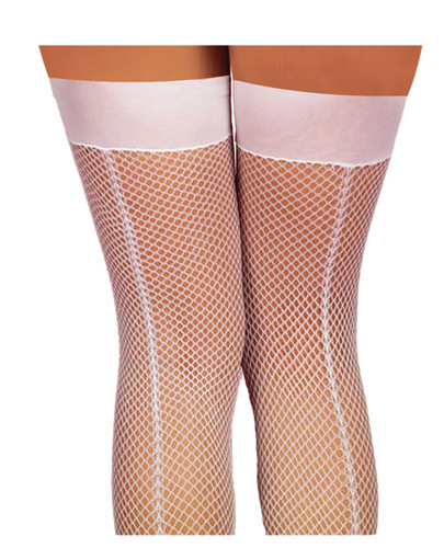 Fishnet Thigh Highs Includes Back Seam White - One Size Fits All